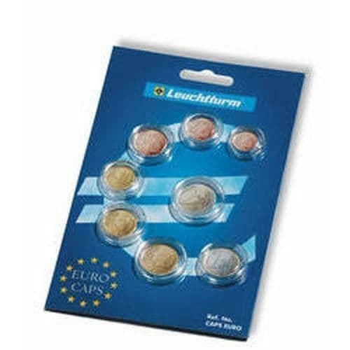 A Pack Of 8 Lighthouse Euro Mixed Coin Capsules For A Complete Euro Coin Set